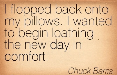 I flopped back onto my Pillows. I wanted to begin loathing the new day in Comfort. - Chuck Barris
