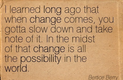 I Learned Long Ago That When Change Comes, You Gotta Slow Down And Take Note Of It. In The Midst Of That Change Is All The Possibility In The World. - Bertice Berry