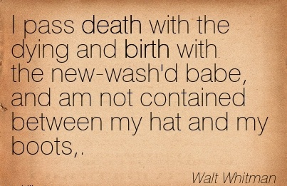 I Pass Death With The Dying And Birth With The New-Wash'd Babe, And Am Not Contained Between My Hat And My Boots,. - Walt Whitman