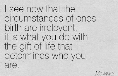 I See Now That The Circumstances Of Ones Birth Are Irrelevent. It Is What You Do With The Gift Of Life That Determines Who You Are. - Mewtwo