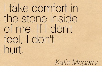 I Take Comfort in the Stone Inside of me. If I Don't Feel, I Don't Hurt. - Katie Mcgarry