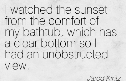 I Watched the Sunset from the Comfort of My Bathtub, Which Has a Clear Bottom so I had an Unobstructed view. - Jarod Kintz