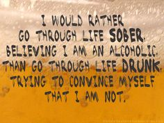 I Would Rather Go Through Life Sober. Believing I Am Am Alcoholic. Than Go Through Life Drunk, Trying To Convince Myself That I Am Not. ~ Addiction Quotes