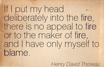 If I Put My Head Deliberately Into The Fire, There Is No Appeal To Fire Or To The Maker Of Fire, And I Have Only Myself To Blame. - Henry David Thoreau