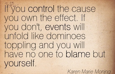If You Control The Cause You Own The Effect. If You Don't, Events Will Unfold Like Dominoes Toppling And You Will Have No One to Blame But Yourself. - Karen Marie Moning