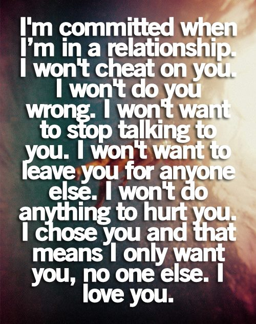 I'm Committed When I'm In a Relationship. I Won't Cheat On You.