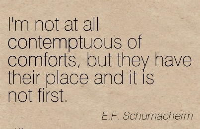 I'm not at all Contemptuous of Comforts, but they have their Place and it is not First. - E.F Schumacherm