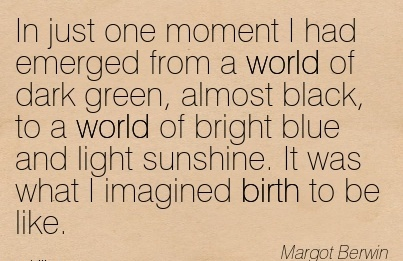 In Just One Moment I Had Emerged From A World of Dark Green, Almost Black, To A World Of Bright Blue And Light Sunshine. It Was What I Imagined Birth To Be Like. - Margot