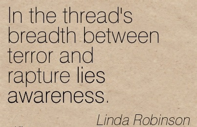 In The Thread's Breadth Between Terror And Rapture Lies Awareness. - Linda Robinson