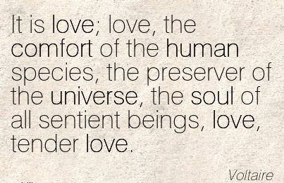 It is Love; Love, the Comfort Of the human species, the Preserver of the Universe, the Soul of all Sentient Beings, love, Tender Love. - Voltaire