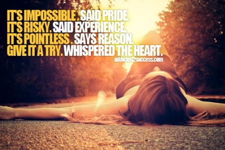 IT'S IMPOSSIBLE, IT'S RISKY, IT'S POINTLESS BUT GIVE IT A TRY WHISPERED THE HEAR.