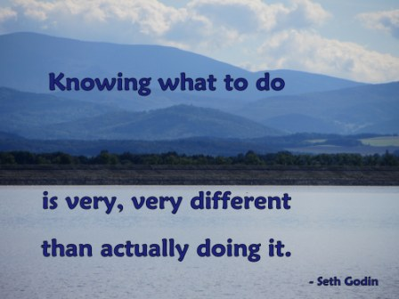 Knowing What To Do Is Very, Very Different than Actually Doing It. - Sth Godln - Awareness Quote