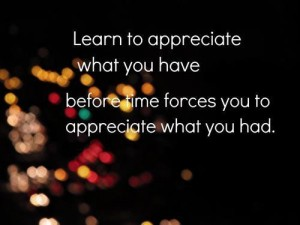 Learn to appreciate what you have before time force yuou to appreciate what what you had. - Cheated