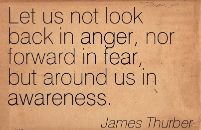 Let Us Not Look Back In Anger, Nor Forward In Fear, But Around Us In Awareness. - James Thurber