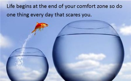 life Begins At The End of your Comfort zone so do one Thing Every Day That Scares You.