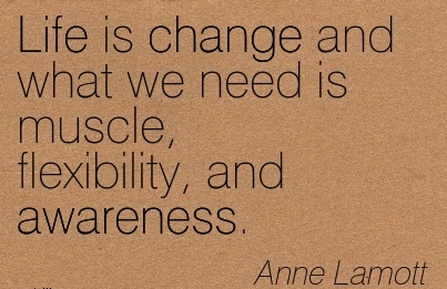 Life Is Change And What We Need Is Muscle, Flexibility, And Awareness. - Anne Lamott