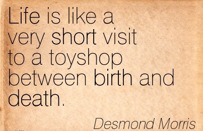 Life Is Like A Very Short Visit To A Toyshop Between Birth And Death. - Desmond Morris