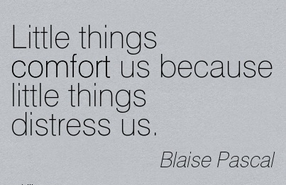Little Things Comfort us Because Little Things Distress Us. - Blaise Pascal