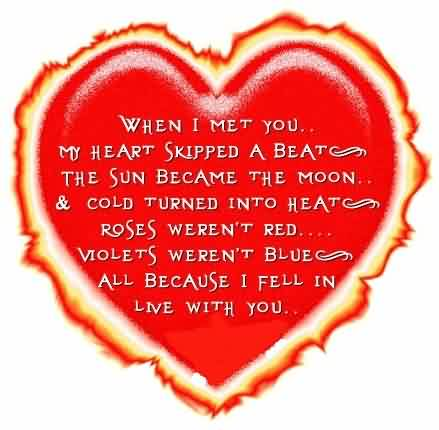 Love Heart Quote Image-Roses went red when i Fell in Love with you