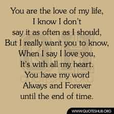 Love Life Short Quote-You are the love of my life