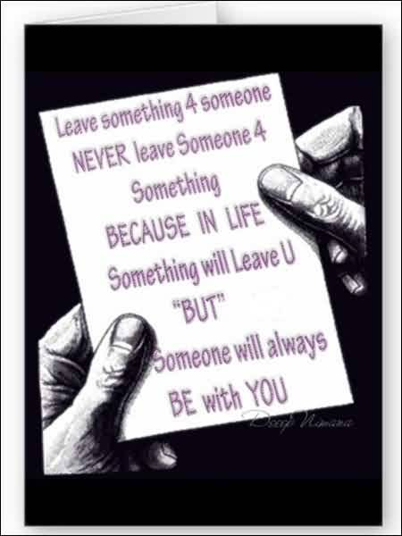 Love Message Quote-Never Leave someone for something