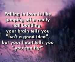 Love Quote-Love is Like jumping off a tall building