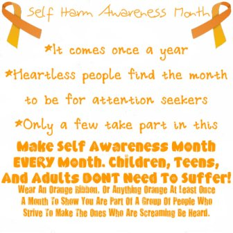 Make Self Awareness Month Every Month. Children, Teens And Adults Dont Need To Suffer!