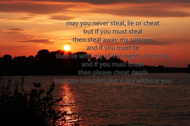 May You Never Steal, lie Or Cheat But If You Must Steal Tehn Steal Away My Sorrows And If you Must lie.