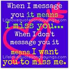 Miss You Cute Love Quote-Want You to Miss me