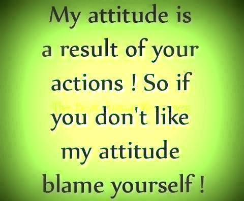 My Attitude is A Result Of your Actions! So If you Don't Like My Attitude Blame Yourself !