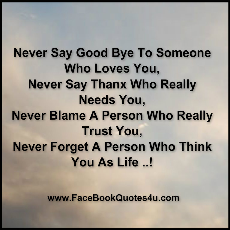 Never Say Good Bye To Someone Who Loves You, Never Say Thanx Who Really Needs You, Never Blame A Person Who Really Trust You, Never Forget A Person Who Think You As Life. ~ Blame Quotes