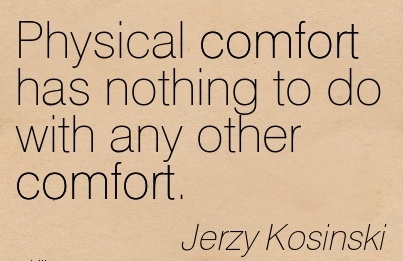 Physical Comfort has Nothing To Do With Any other Comfort. - Jerzy Kosinski