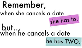 Remember, When She cancels A Date she has To. Buty When He Cancels A Date he has Two. - Cheating Quotes