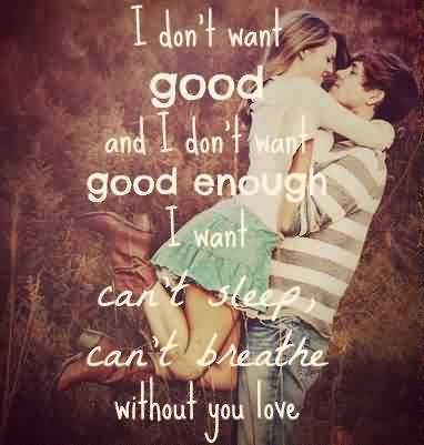 Romantic Love Quote Image-Can't breath without you