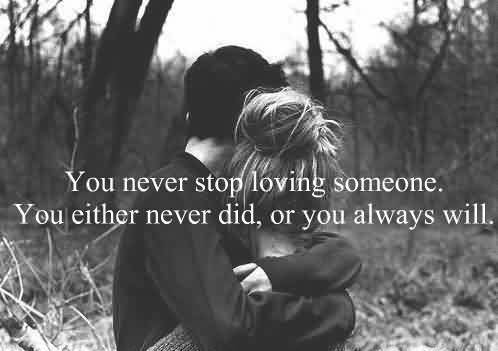 Romantic Short Love Couple Quote Image-Never stop Loving someone