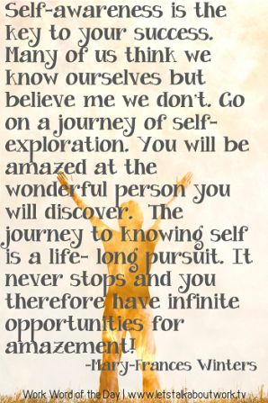Self Awareness Is The Key To Your Success. Many Of Us Think We know Ourselves But Believe mer We Dont. Go On A journey Of Self Exploration. - Mary - Frances