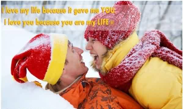 Short Romantic Love Quote Image-I Love My Life Because of you