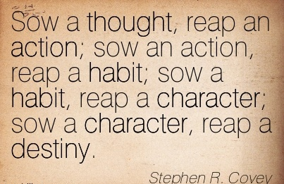 Sow A thought Reap An action Sow An Action Reap A Habit Sowe A Habit; Sow a Character Reap A Destiny - Stephen R. Covey
