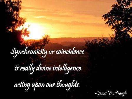 Synchronicity Or Coincidence Is Really Divine Intelligence Acting Upon Our Thiughts. - James Van Praagh - Awareness Quote