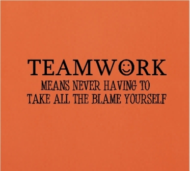 Teamwork Means Never Having To Take All The Blame Yourself. ~ Blame Quotes