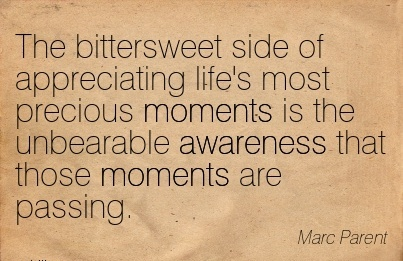 The Bittersweet Side Of Appreciating life's Most Precious Moments Is The Unbearable Awareness That Those Moments Are Passing. - Marc Parent