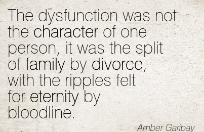 The Dysfunction was not the Character of one Person, it was the Split of Family by Divorce, with the Ripples felt for Eternity by Bloodline. - Amber Garibay