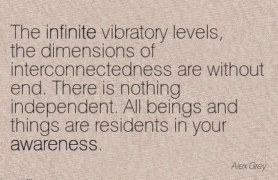 The Infinite Vibratory Levels, The Dimensions of Interconnectedness are Without End. There is Nothing Independent. All Beings and Things are Residents in your Awareness. - Alex