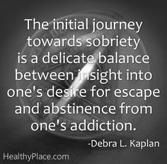 The Initial Journey Towards Sobriety Is A Delicate Balance Between Insight Into One's Desire For Escape And Abstinence From One's Addiction. - Debra L. Kalpan