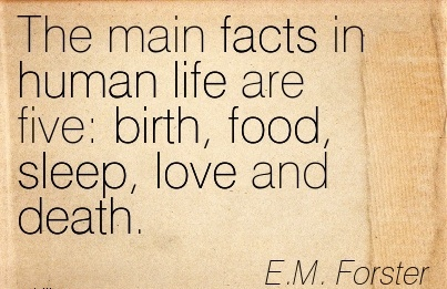 The Main Facts In Human Life Are Five Birth, Food, Sleep, Love And Death. - E.M Forster
