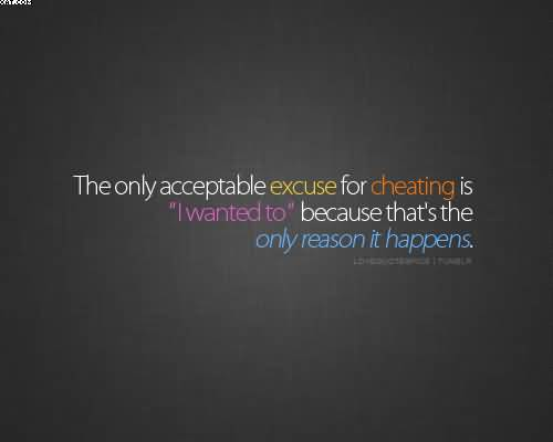 The Only Acceptable Exuse For Cheating is I Wanted to Beacuse That's The Only reason It Happens.