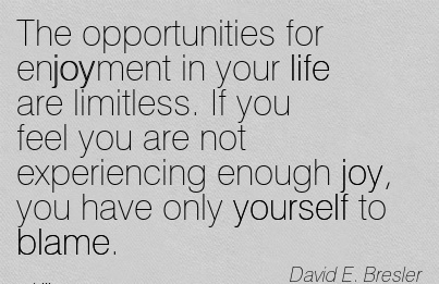 The Opportunities For Enjoyment In Your Life Are Limitless. If You Feel You Are Not Experiencing Enough Joy, You Have Only Yourself To Blame. - David E. Bresler