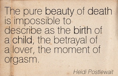 The Pure Beauty of Death is Impossible to Describe as the Birth of a child, the Betrayal of a Lover, the Moment of Orgasm. - Heidi Postlewait