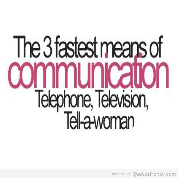 The Three Fastest Means of Communication Telephone, Television, Tell A Woman… - Comfort Quotes