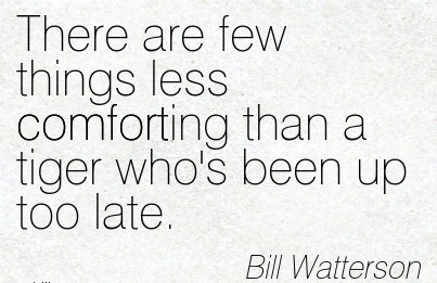 There are few Things Less Comforting Than a Tiger Who's Been Up Too Late. - Bill Watterson